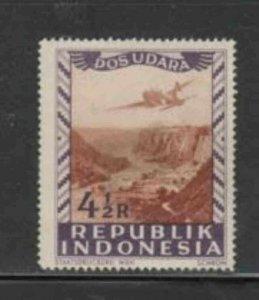 INDONESIA #C9 1948 4 1/2r AIRCRAFT MINT VF H O.G