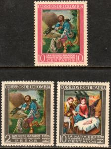 COLOMBIA 747, C439-C440 RELIGIOUS PAINTINGS. MNH. (64)