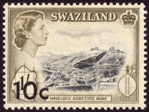 Swaziland 1961 10c on 1s Black and Deep Olive SG73 MH