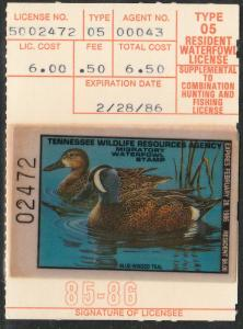 U.S.-TENNESSEE 9, STATE DUCK HUNTING PERMIT STAMP. MINT, NH. VF
