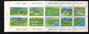 Canada Sc 1059a 1985 Forts Canada Day stamp booklet pane mint NH