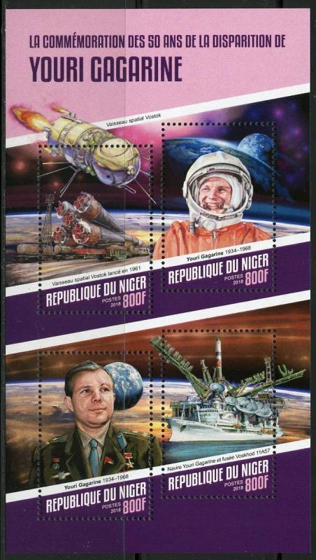 NIGER 2018 50th MEMORIAL ANNIVERSARY OF YURI GAGARIN  SHEET  MINT NH