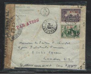 SENEGAL+ FR OCC AFRIQUE (P1708BB) 2 COUNTRY COMBINATON COVER CENSOR TO ENGLAND