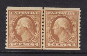 495 Line Pair VF+ original gum mint lightly hinged with nice color ! see pic !