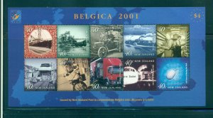 New Zealand - Sc# 1695K.  2001 Belgica 2001 Souv. Sheet. MNH $7.00.