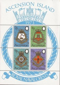 Ascension - 1973 Royal Naval Ships Coats of Arms - 4 Stamp Sheet - Scott #159a