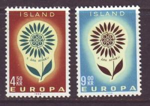 Iceland Sc 367-8 1964 Europa stamp set mint NH