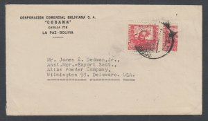 Bolivia Sc 261 + Bisect on 1939 Cover to Atlas Powder Co, Wilmington, Delaware