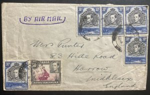 1941 Tanga Tanganyika British KUT Airmail Cover To Harrow England