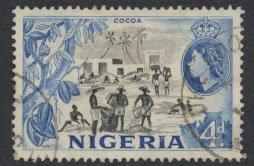 Nigeria  SG 74 SC# 85 Used  QEII 1953  Cocoa  please see scan