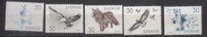 J25663 JLstamps 1968 sweden set mlh/mnh #799-803 wildlife