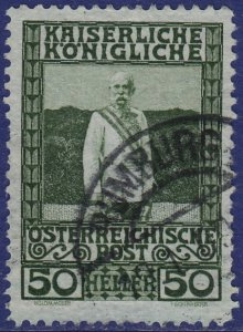 Austria - 1908 - Scott #121 - used - RUMBURG pmk Czech Republic