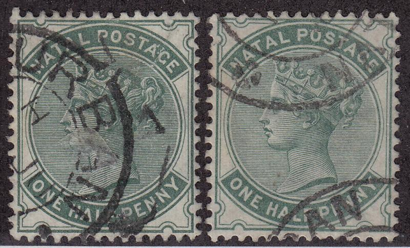 NATAL Used Scott # 65-66 Queen Victoria Wmk 2 - 66 has pencil # (2 Stamps)