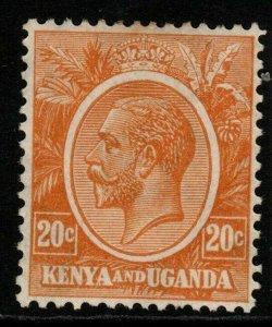 KENYA, UGANDA & TANGANYIKA SG83 1922 20c DULL ORANGE-YELLOW MTD MINT