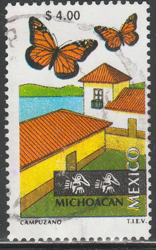 MEXICO 1973, $4.00 Tourism Michoacan, butterflies, lake USED. F-VF. (1500)