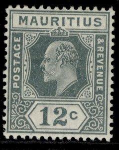 MAURITIUS EDVII SG188, 12c greyish slate, LH MINT.