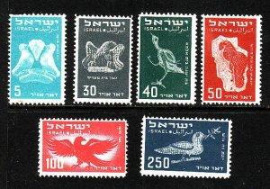 Israel-Sc#C1-6 -unused hinged og  airmail set-Birds-1950-