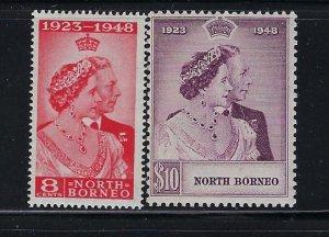 NORTH BORNEO SCOTT #238-239 1948 SILVER WEDDING- MINT NEVER HINGED