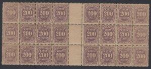 Brazil 1906 200r Violet Postage Due block of 24. MNH unmounted. Scott J26b