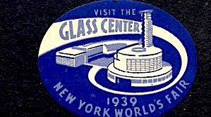 USA New York World's Fair 1939/40 Visit the Glass Center Die Cut