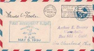 1930, 1st Anniv. Flt., Detroit, MI, Signed by Pilot Harold Fowler (41292)