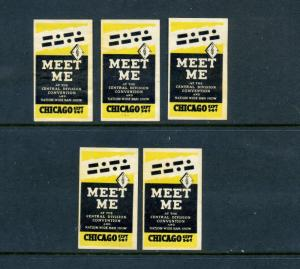 5 VINTAGE NATIONWIDE HAM SHOW POSTER STAMPS (L453) CHICAGO HAM RADIO OPERATORS