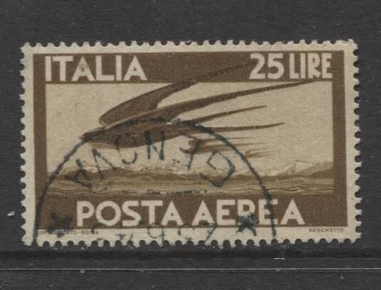 Italy - Scott C112 - Air Post -1945 - VFU - 25 Lira Stamp