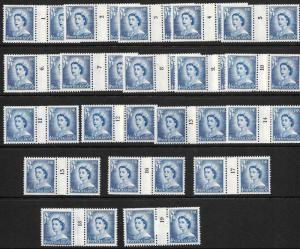 NEW ZEALAND 1956  4d  QEII COIL  SET 19  MLH  CP NC3d