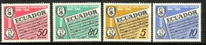 ECUADOR 1965 NATIONAL ANTHEM Anniversary Set Scott Nos. 734-737 MNH