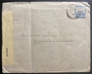 1940 Tel Aviv Palestine Airmail Censored Cover To Detroit MI USA
