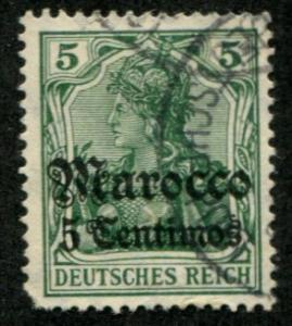 Germany Offices Morocco SC# 34 Germania 5c o/p on 5pf Used