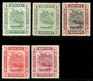 Brunei 1908 p/set (5v. inc both 1c types) wmk MCCA mint