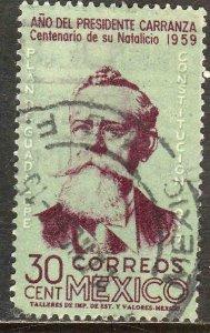 MEXICO 907, 30¢ Centenary Birth of Pres Carranza. Used VF. (279)