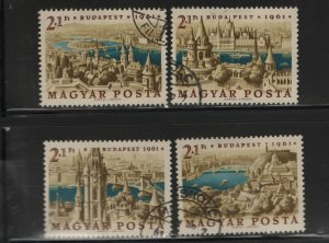 Hungary B220-B223, 4 Singles, Used, 1961 Stamp Day and Intl. Stamp Exhibition