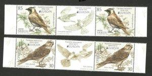 SERBIA-MNH STRIP-EUROPA CEPT- FAUNA - BIRDS -ENDANGERED NATIONAL WILDLIFE -2021.