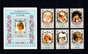 ANGUILLA - 1982 - PRINCESS DIANA - 21st BIRTHDAY - MINT - MNH SET + S/SHEET!