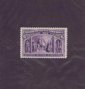 SC#235 UNUSED OG MNH 6c COLUMBUS WELCOMED AT BARCELONA, 1893, EXTRA FINE