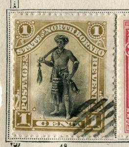 NORTH BORNEO;  1894 early pictorial issue fine used 1c. value