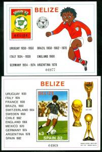 EDW1949SELL : BELIZE 1981 Scott #607-8 World Cup Soccer. VF MNH. Catalog $48.50.