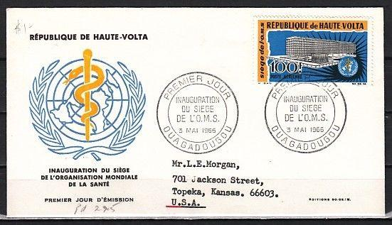 Burkina Faso, Scott cat. C30. WHO Headquarters issue. First day cover.