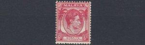 MALAYA  STRAITS SETTLEMENTS  1938 - 41  S G 282  6C  SCARLET  MH