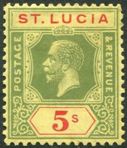 ST LUCIA-1923 5/- Green & Red/Pale Yellow Sg 105 MOUNTED MINT V33913