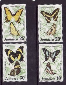 Jamaica-Sc#398-401-Unused NH set-Insects-Butterflies-1975-