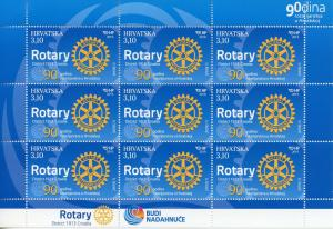 Croatia 2019 MNH Rotary International 90 Years 9v M/S Stamps