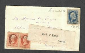 US 19th Century Sarasota FL Banknote Cover M/S Cancel-London To Egypt 1882