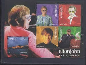 Malta # 1134, Elton John, Souvenir Sheet., Mint NH, 1/2 Cat..