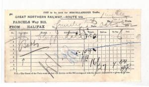 BC104 1892 GB Great Northern Railway HALIFAX Parcel Way Bill {samwells-covers}