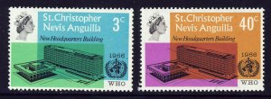 ST.CHRISTOPHER NEVIS & ANGUILLA QE II 1966 WHO Headquarters Set SG 161/162 MINT