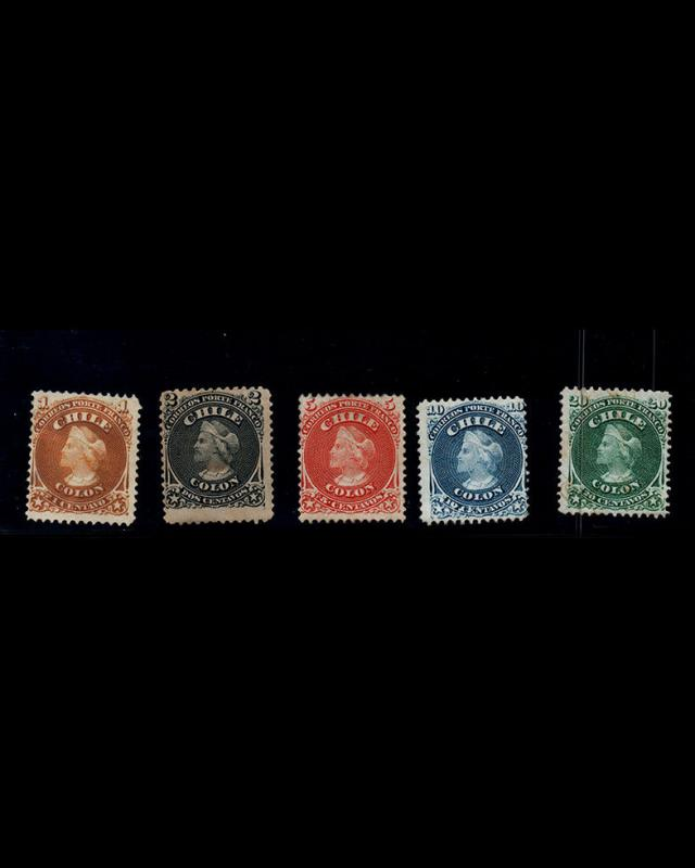 VINTAGE:CHILE 1865 OG,LH FRESH,TN THN GREEN UP RTE SCT# 15-19 $ 149 LT # CH1868A