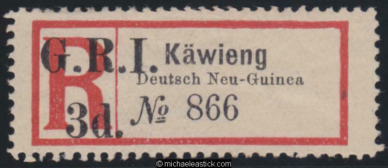 1915 New Guinea Reg Label surcharged GRI 3d for KAWIENG, SG 37b MH